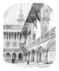 Court of the University of Krakow, vintage engraving.