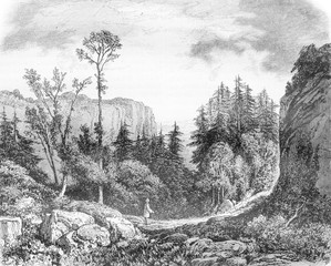 The Desert of JJ Rousseau, vintage engraving.
