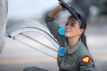 Portrait of young girl pilot , military pilot ,beautiful pilot