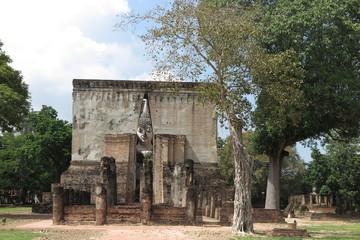 Wat Si Chum in Sukhothai Historical Park is a historic site, big statue Buddha Phra Achana, Sukhothai Thailand