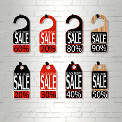 eps 10 vector set of price tag labels. Black friday night sell-out. Sale and discount advertising print materials