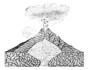 Volcano, vintage engraving.
