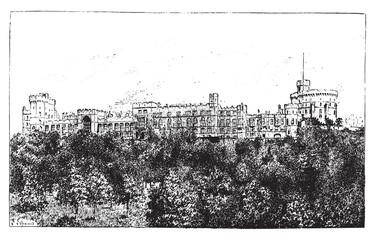 Windsor Castle, vintage engraving.