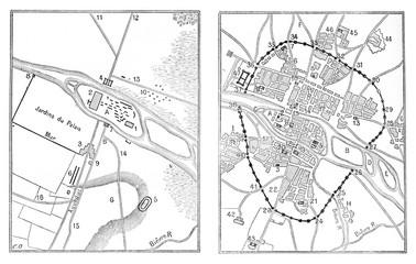 Map of Paris Gallo-Roman, vintage engraving.