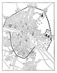 Map of Paris in The era of Charles V, vintage engraving.