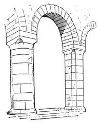 Pillar of Church of lons-le-Saunier, vintage engraving.