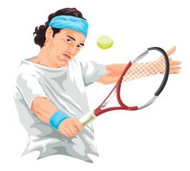 Vector of tennis player hitting backhand shot.