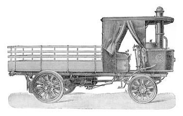 Truck 25 horses, vintage engraving.