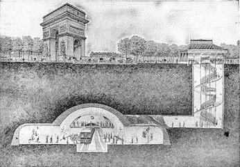 Metropolitan station under the Place de l'Etoile, vintage engrav