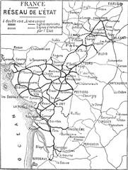 Map of France, vintage engraving.