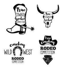 Wild West. Set of vintage rodeo emblems, labels, badges and designed elements.