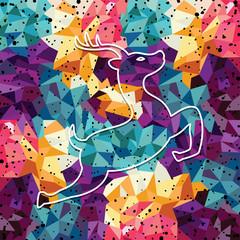 deer colorful mosaic pattern