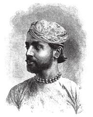 Sheodan Sing Maharao Raja Ulwur, vintage engraving.
