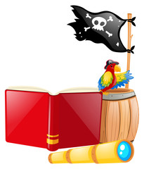 Pirate flag and parrot