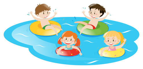 Four kids swimming in pool