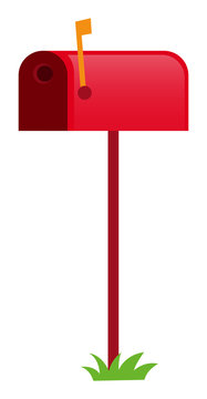 Red mailbox with yellow flag