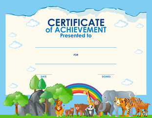 Certificate template with wild animals