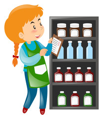Shopkeeper looking at products on shelves