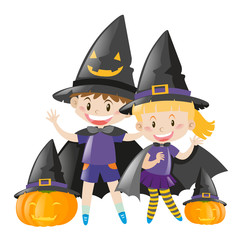 Kids in halloween costume as witch