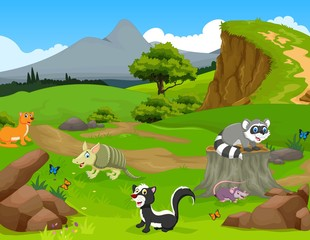 funny animal cartoon in the jungle with landscape background