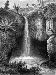 River Falls in Tondano, vintage engraving.
