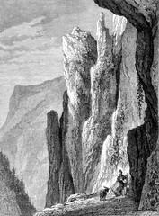 Thorstein rocks, vintage engraving.