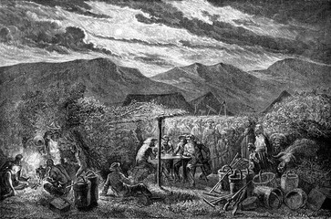 First night on the land of China, vintage engraving.