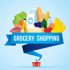 Vector illustration of grocery shopping banner with various of goods.