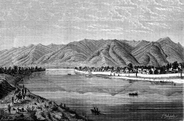 The town of Yuen-kiang, vintage engraving.