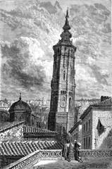 The Leaning Tower (Torrenueva) in Zaragoza, vintage engraving.