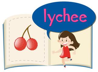 Fresh lychee on children book