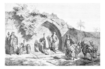 Mary?s Well in Nazareth in Israel, vintage engraving
