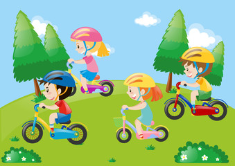 Park scene with kids cycling