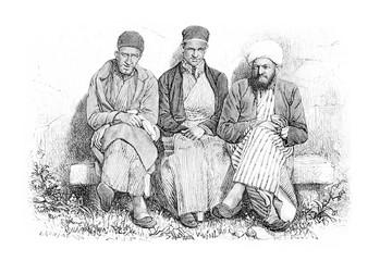 Samaritans of Nablus in West Bank, Israel, vintage engraving
