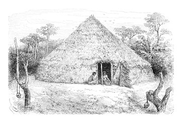 Dwellings of the Orejone Indians in Amazonas, Brazil, vintage en