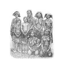 Mandombe Women of Congo, Central Africa, vintage engraving