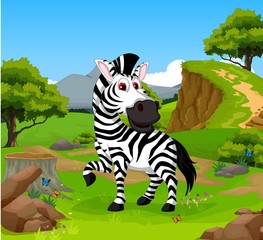 funny zebra cartoon in the jungle with landscape background