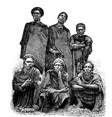Mandombe Men of Congo, Central Africa, vintage engraving