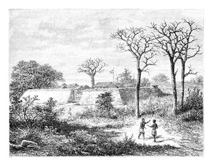 Caconda in Angola, Southern Africa, vintage engraving
