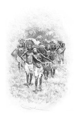 Troop of Girls Carrying Baskets in Angola, Southern Africa, vint