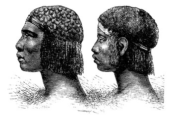 Huambo Man and Woman of Angola in Southern Africa, vintage engra