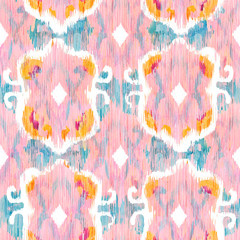 Ikat seamless bohemian ethnic pattern in watercolour style. Watercolor  oriental ornaments.
