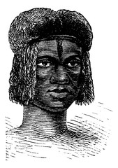 Zambo Female from Africa, vintage engraving
