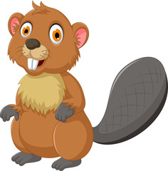 cute beaver cartoon posing