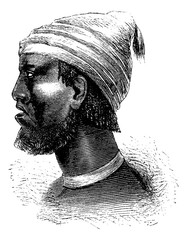 Chief of Chindonga of Angola in Southern Africa, vintage engravi
