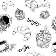 Vector seamles black and white coffee pattern