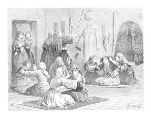 Day of Tears, vintage engraving