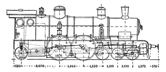 Krauss locomotive has axle auxiliary motor, vintage engraving.