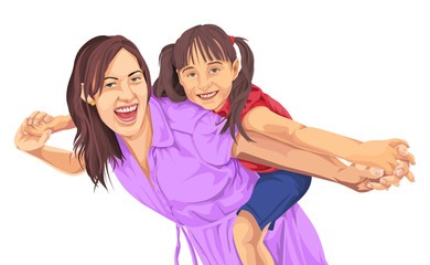 Vector of girl enjoying piggyback ride on mother's back.