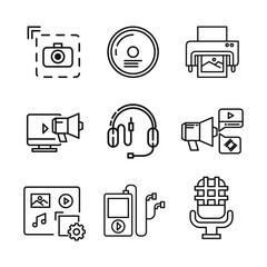 media icon set vector illustration design